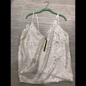 Topshop White Sequined Top